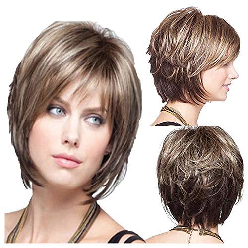 Perücken für weiße Frauen Flauschige Kurze lockige Perücke synthetische volle weibliche Perücken mit Perücke Kappe ()