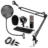 auna CM003 Mikrofon-Set V4 Kondensatormikrofon + USB-Konverter + Mikrofonarm + Pop-Schutz (XLR-Anschluß, Nierecharakteristik, Mikrofonspinne, XLR-USB-Adapter) schwarz