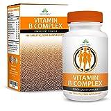 Complesso di Vitamina B - Integratore ad Alta Potenza, Tutte le 8 Vitamine B in una Compressa: B1, B2, B3, B5, B6, B12, D-Biotina e Acido Folico, 180 Compresse (dose per 6 mesi) da Earths Design
