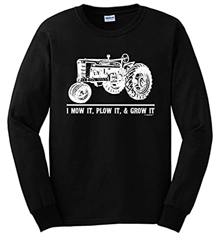 Mow it Plow it Grow it, Farmer Tractor Long Sleeve T-Shirt X-Large Military Green