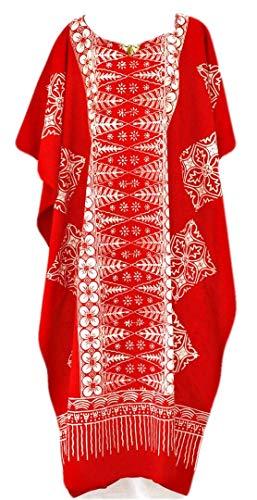 Damen Baumwolle Kaftane (Coole Kaftane New MALAYA Baumwolle Kaftan-Kleid-Schwarz, Lila, Rot Plus-Ladies Beach Womens Fein Batik Red)