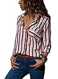 AitosuLa Bluse Gestreift Damen Hemd Oberteile V-Ausschnitt Lose Casual Chiffon Langarm T-Shirt Top Tunika Elegant Langarmshirt Z Rot Weiß S