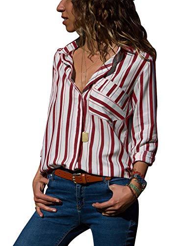AitosuLa Bluse Gestreift Damen Hemd Oberteile V-Ausschnitt Lose Casual Chiffon Langarm T-Shirt Top Tunika Elegant Langarmshirt Z Rot Weiß M