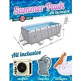 Summer Pack Piscine Gris 400x200x99cm + Pompe à Chaleur + Filtre à Sable + Bouée