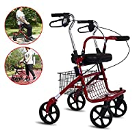 SHOW-WF Aluminium Four Wheeled Rollator Walking Frame With Locking Brakes, Rest Seat, Detachable Tray Basket, Folding Rollator Fit In The Travel Case, Car Trunk Or Cabinet