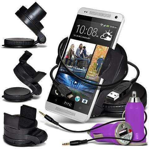 Nokia Lumai 635, 630 pivotant à 360 degrés voiture porte-fenêtre Montage, Bullet en voiture chargeur USB avec charge Voyant , câble de données chargeur & Jack audio 3,5 mm pour câble Jack (violet clair) par * Aventus *