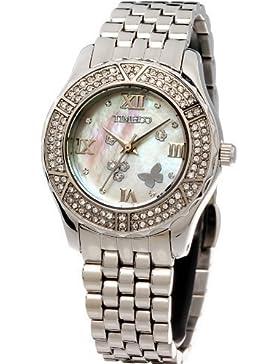 Time100 Wasserdichte Edelstahl-Damen-Armbanduhr mit farbigem Muschel-Zifferblatt und Swarovski-Diamanten #W50054L...