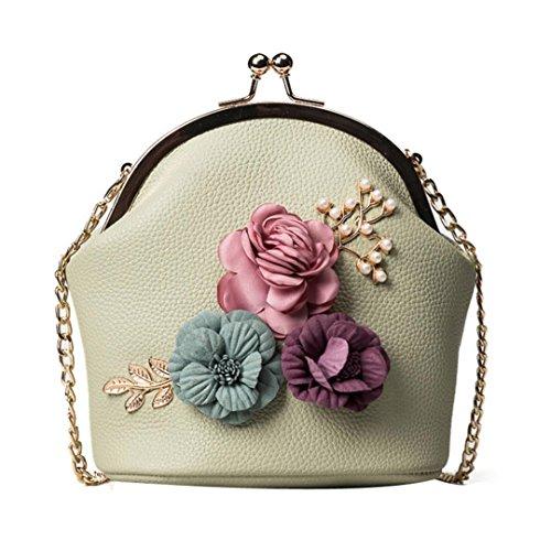 3c6f365cd3 GongzhuMM Petit Sac à Bandoulière Femme PU Cuir Sac Mini Broderie Fleurs et  Perles 3D Sac