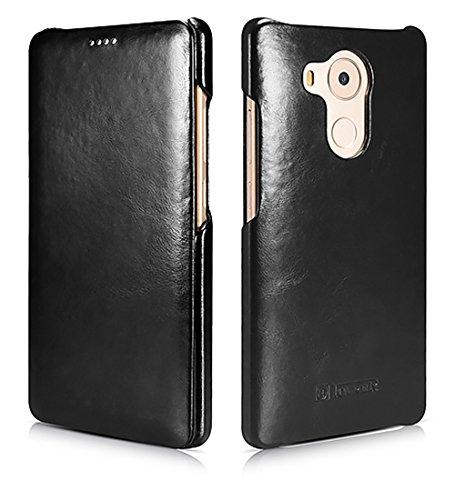 Luxus Tasche für Huawei Mate 8 / Case Außenseite aus Echt-Leder / Etui Innenseite aus Textil / Schutz-Hülle seitlich aufklappbar / ultra-slim Cover / Vintage Look / Farbe: Schwarz