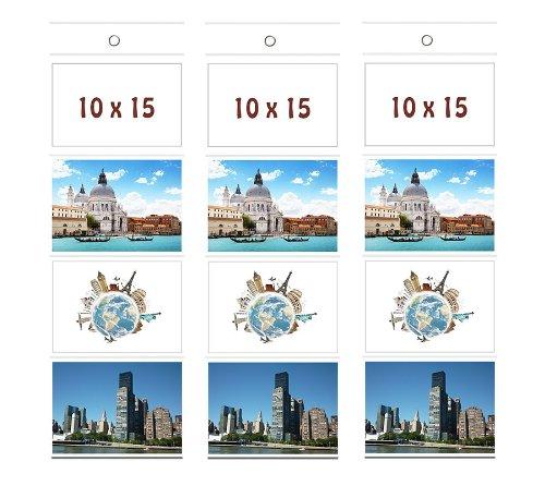 3 Fototaschen 10 x 15 cm für 4 Fotos Querformat Foto Bilder Karten Halter Fotowand Fotohalter Kartenhalter (3 x 4 Fotos Querformat 10x15) (3x4 Bilderrahmen)