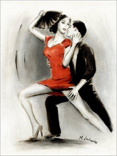Poster 90 x 120 cm: Leidenschaftliches Tanzpaar - lateinamerikanische Malerei von Marita Zacharias - Hochwertiger Kunstdruck, Kunstposter