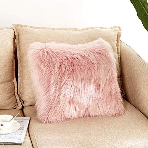 DQMEN Weicher Dekokissen 45 x 45 cm grau Langhaar Zierkissen dekoratives Fellimitat Sofakissen Kunstfell Kissen (Pink, 45 x 45cm) -