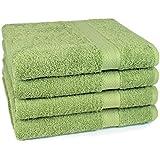 4 tlg Handtuch Set Frottee Premium Farbe Apfel Grün 4 Handtücher 50 x 100 cm 100% Baumwolle