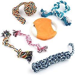 6er Set Hund Seil Spielzeug, Chew Kauspielzeug Set - 5 Hundeseile & 1 Frisbee - Endlose Spielzeit & Spaß, Hilft auch Gegen Plaque-Aufbau! Langlebig & Nicht Toxisch| Geschenk für Hundeliebhaber