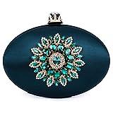Bolso de Embrague Cartera de Mano Forma De Tetera Diamantes para Mujeres Novia Fiesta Boda,Turquesa