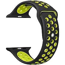 Gersymi Apple Watch Sangle 42/38mm, sport, Coque en silicone de remplacement de sangle Bande avec boucle réglable et dégagement rapide pour Apple Watch iWatch Série 1/2Edition