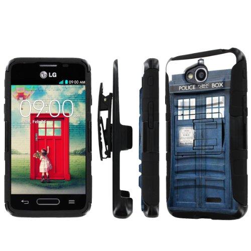 NakedShield LG Optimus L90 NakedShield LG Optimus L70 (Blue Phone Box) Combat Tough Holster Kickstand Armor Phone Case