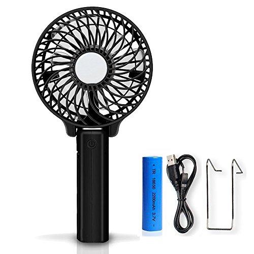 Welltop Handventilator, Handfan Wiederaufladbare Ventilatoren Portable Hand Mini Ventilator Batterie betrieben Kühlventilator Elektrische persönliche Fans Faltbare Fans mit 18650 Batterie für Haus und Reise (schwarz) (Hand-fans, Betrieben Batterie)