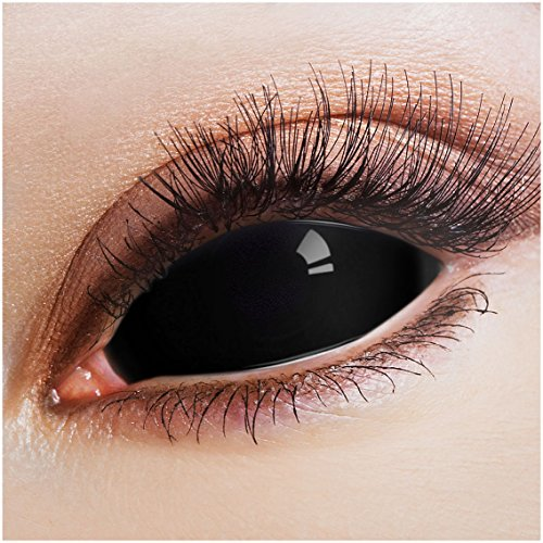 aricona Farblinsen schwarze Sclera Kontaktlinsen 22 mm 2er Set Halloween Make-up