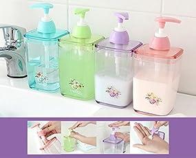 Amigozz Acrylic Liquid Soap and Shampoo Dispenser, 1 Piece, 420ml (Assorted, SB041)