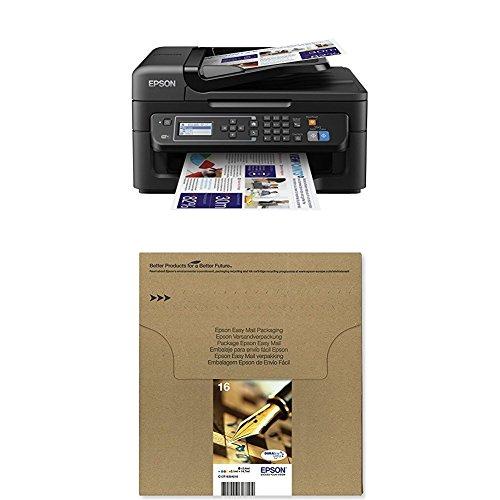 Epson WorkForce WF-2630WF Tintenstrahl-Multifunktionsgerät schwarz + Original T1626 Füller, wisch- und wasserfeste Tinte (CYMK) + passende Druckerpatrone