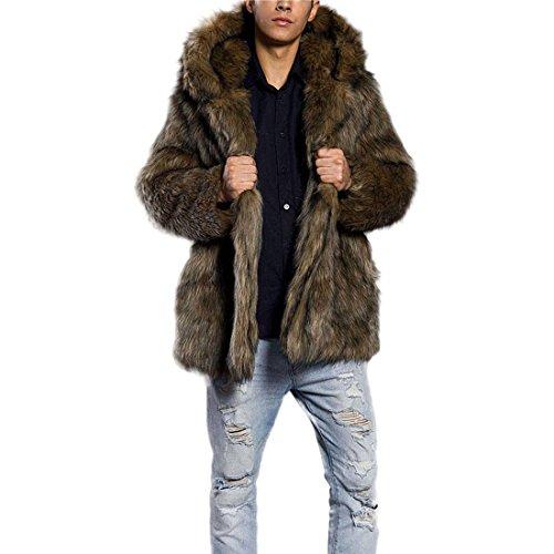 Pelzmantel Mit Kapuze Kunst Felljacke Herren Leopard Muster Design Wind Coat,AKAUFENG Winterjacke Mantel Kunstpelz lange Jacke Faux Fur