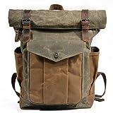 QPZYB Sac à bandoulière rétro pour homme et femme, paquet d'ordinateur de voyage en toile de cire à l'huile, sac de montagne étanche