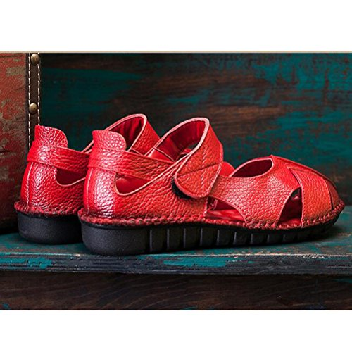 Vogstyle Donne Sandali Scarpe Casual Classic Bocca Di Pesce Romani Sandali Stile 1-Rosso