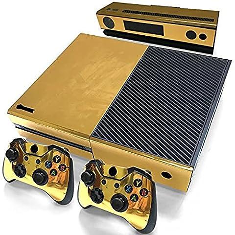 DOTBUY Xbox ONE Design Folie Vinyl Aufkleber für Konsole + 2 Controller + Kamera Sticker Skin Set (Glossy Gold)