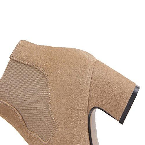 AgooLar Damen Ziehen Auf Mittler Absatz Blend-Materialien Rein Knöchel Hohe Stiefel Nackte Farbe