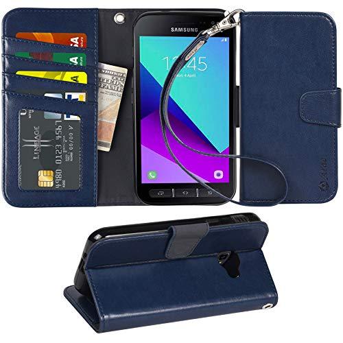 Arae Samsung Galaxy Xcover 4 Hülle, Handyhülle Galaxy Xcover 4 Tasche Leder Flip Cover Brieftasche Etui Schutzhülle für Samsung Galaxy Xcover 4 (Dunkelblau)