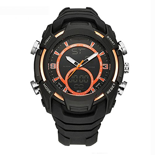 MIAO Outdoor Mens Multi-Functional Dual-Motion 50 Meter wasserdicht elektronische Uhr mit 24-Stunden-Anleitungen/Woche Display/Alarm/Kalender/Chronograph/month Display , orange (Uhr Alarm Shock Electric)