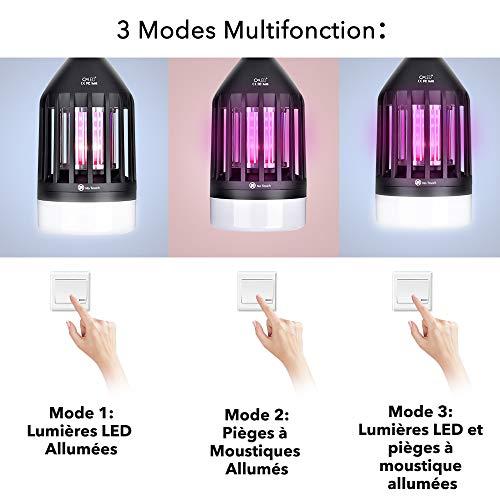 Lampe Anti Moustique - 9W LED Lampe Anti Moustique Exterieur - UV Anti Moustique Efficace Portée 30-40m², Attrape Moustique Electrique Interieur Destructeur D'insectes Piège a Moustique Maison