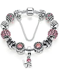 Carina Sterling Silver Stunning Pink Friendship Charms Pandora Collection Bracelet for Girls / Women