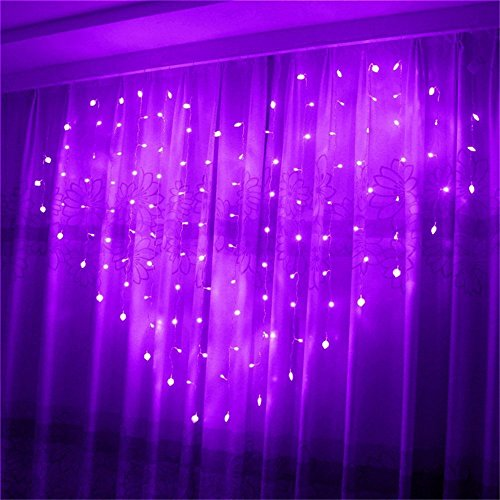 Eplze LED Rideau de Lumière 36pcs Coeur d'amour Autour de 2m x 1.5m 124 LEDs 8 Modes Commandables Résistant à l'eau Lumière Cordes pour la Fête de Noël Mariage Festival (Violet)