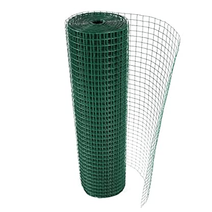 "G4RCE® 1"" x 1"" Green PVC Coated Welded Mesh Wire 30m or 45m roll in 2 widths Chicken Rabbit Animal Fence Steel Metal Garden Netting Fencing (1.2M X 30M) 6"