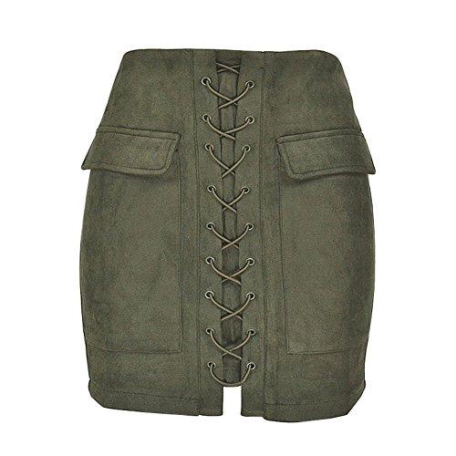 Patgoal Pelle Donna Lace Up pelle scamosciata Gonne A-Line tasca della gonna Verde S/M/L/XL