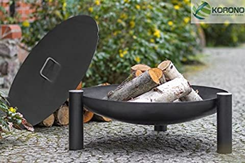 Korono FIRE PIT, Fire Bowl with Lid 60cm on 3legs Steel–Fire & Stylish Light