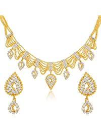 Sukkhi Sparkling Gold Plated Ball Chain AD Necklace Set For Women