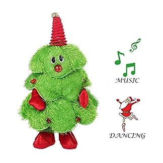 EFINNY Canto eléctrico Baile Sombrero de Santa Árbol de Navidad Juguete de Peluche Regalo Divertido para niños Adorno de estatuilla de Navidad