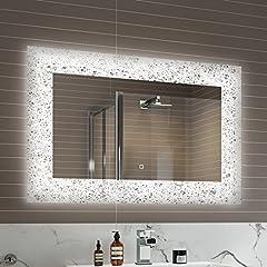 Idea Regalo - soak Specchio di Design per Bagno con Illuminazione a LED, Sensore Luce e Antiappannamento, 900 x 600 mm
