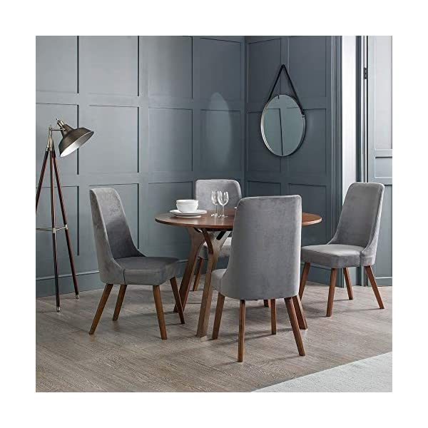 Julian Bowen Huxley Dining Set Julian Bowen Glamourous curved back for added comfort Modern walnut tapered legs Finished in a dusk grey chenille fabric, suitable for a range of décor 1
