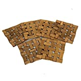 #4: Kuber Industries Bamboo Wooden Coaster, Pan Pot Holder Heat Insulation Pad, Square 13 x 13 cm, 6 Piece Set -KI3428