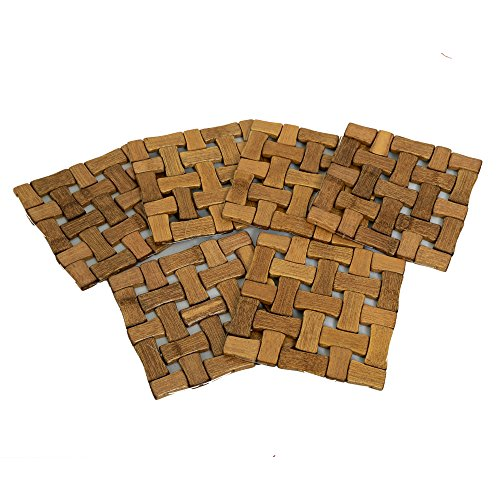 Kuber Industries™ Bamboo Wooden Coaster, Pan Pot Holder Heat Insulation Pad, Square...