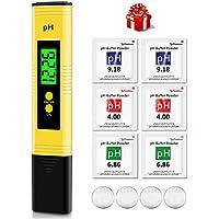 kungfuren PH Messgerät mit LCD Anzeige, Digital PH Wert Messgerät ATC Wasserqualität Tester für Haushalt Trinkwasser Hydroponic Aquarium Wasser, ±0.01pH Hohe Genauigkeit, 0.00-14.00 Messbereich, Gelb