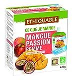 Ethiquable Fruta Bebible Manzana, Mango y Maracuyá Bio - Paquete de 4 x 90 gr - Total: 360 gr
