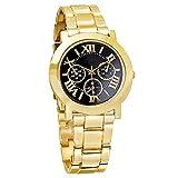 Herren-Armbanduhr, modisch, goldfarbenes Zifferblatt, römische Ziffern, Schwarz
