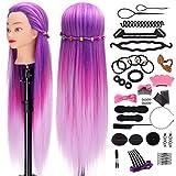 Têtes d'exercice pour coiffure, Mysweety 66CM 100% Cheveux Fibre Synthétique pour Salon de Coiffer Enfant, Violet Coloré Tête Mannequin avec Table Support & Accessoires de tressage, 25