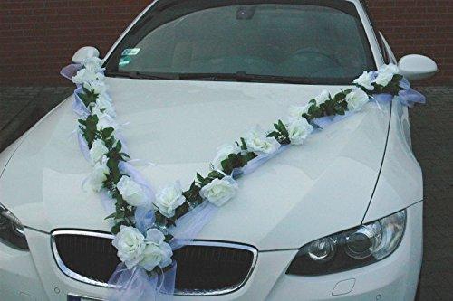 ROSEN GIRLANDE Auto Schmuck Braut Paar Rose Deko Dekoration Autoschmuck Hochzeit Car Auto Wedding Deko (Weiß / Weiß)