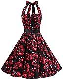 bbonlinedress 1950er Neckholder Vintage Retro Rockabilly Cocktail Party Kleider Black Rose XL